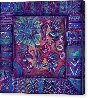 Tres Amigos Kokopellis Canvas Print by Anne-Elizabeth Whiteway