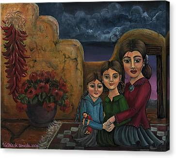 Geranium Canvas Print - Tres Mujeres Three Women by Victoria De Almeida