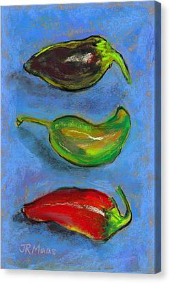 Canvas Print featuring the pastel Tres Peppers by Julie Maas