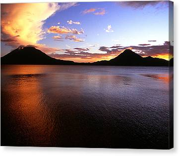 Tres Volcans At Sunset Canvas Print
