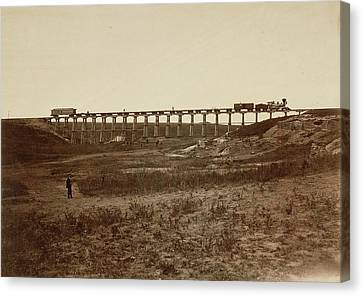 Trestle Bridge Near Fort Harker, Kansas Alexander Gardner Canvas Print by Litz Collection
