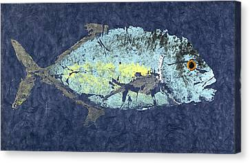 Gyotaku Trevally Canvas Print by Captain Warren Sellers