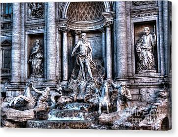 Canvas Print featuring the photograph Trevi Fountain by Joe  Ng