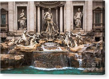 Canvas Print featuring the photograph Trevi Fountain by John Wadleigh