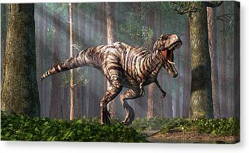Trex In The Forest Canvas Print by Daniel Eskridge