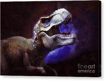 Trex Roar Canvas Print by Pixel Chimp