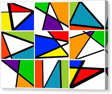 Meeting. Point Canvas Print - Triangularism Enneaptych I by Richard Reeve