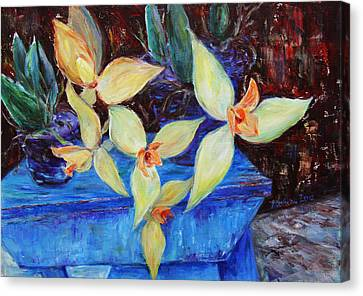 Canvas Print featuring the painting Triangular Blossom by Xueling Zou