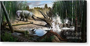 Triassic Mural 1 Canvas Print by Julius Csotonyi