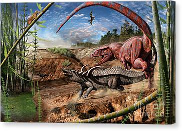 Triassic Mural 2 Canvas Print by Julius Csotonyi