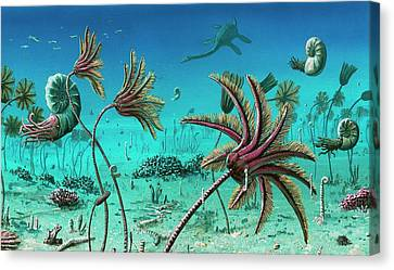 Triassic Underwater Scene Canvas Print by Richard Bizley