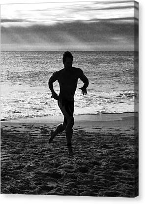 Triathalon Runner - Black And White Canvas Print by Kim Bemis