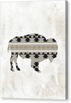 Tribal Buffalo Silhouette Canvas Print by Tara Moss