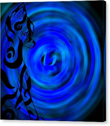 Tribal Cat On Blue Swirl Canvas Print by Josephine Ring