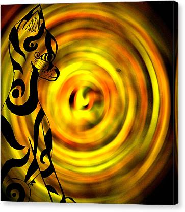 Tribal Cat On Yellow Canvas Print by Josephine Ring