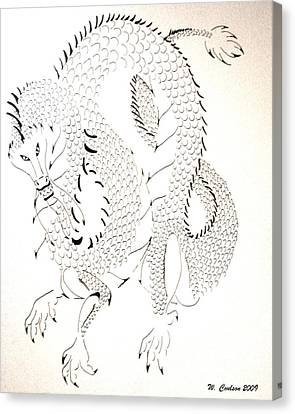 Canvas Print featuring the drawing Tribal Dragon by Wendy Coulson