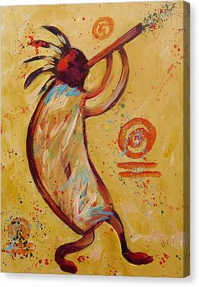 Tribal Ethnic My Red Kokopelli Canvas Print by Carol Suzanne Niebuhr