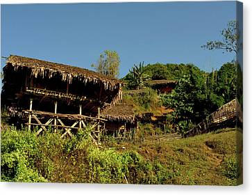 Bamboo House Canvas Print - Tribal Homes In Arunachal Pradesh by Jaina Mishra