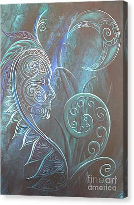 Silver Moonlight Canvas Print - Tribal Moon Goddess Rua by Reina Cottier