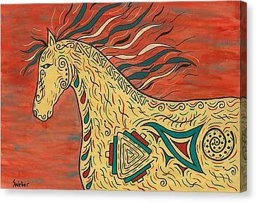 Tribal Spirit Horse Canvas Print by Susie WEBER