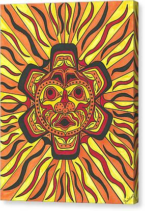 Canvas Print featuring the painting Tribal Sunface Mask by Susie Weber
