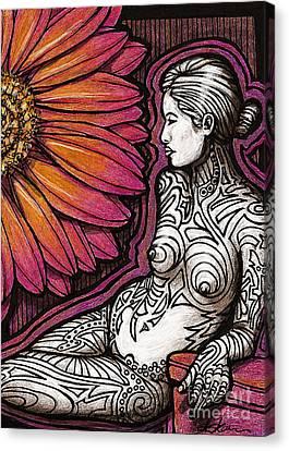 Tribal Tat Nude Canvas Print by Dorinda K Skains