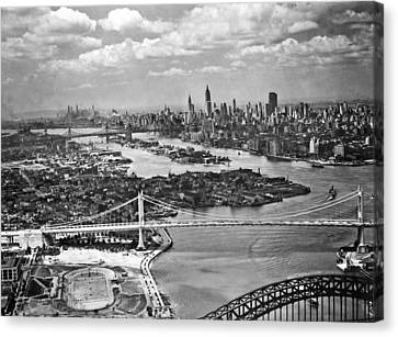 Triborough Bridge Is Completed Canvas Print by Underwood Archives