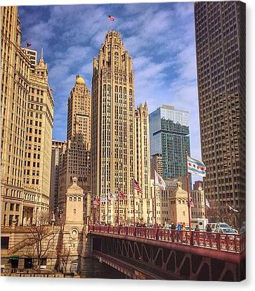Cities Canvas Print - Tribune Tower And Dusable Bridge In by Paul Velgos