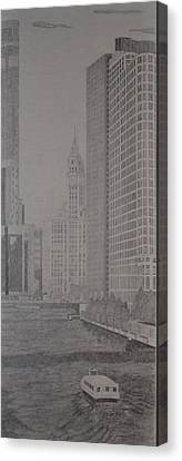 Tribune Tower And The Chicago River Canvas Print by Dave Smith