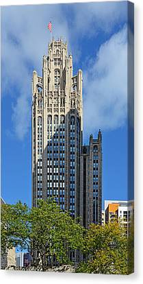 Tribune Tower Chicago - History Is Part Of The Building Canvas Print by Christine Till