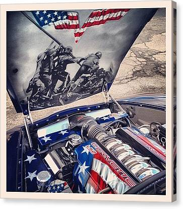 Tribute #corvette To All Veterans #usa Canvas Print by Mike Maher