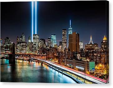 Canvas Print featuring the photograph Tribute In Light Memorial by Mihai Andritoiu