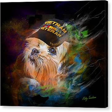 Canvas Print featuring the digital art Tribute To Canine Veterans by Kathy Tarochione