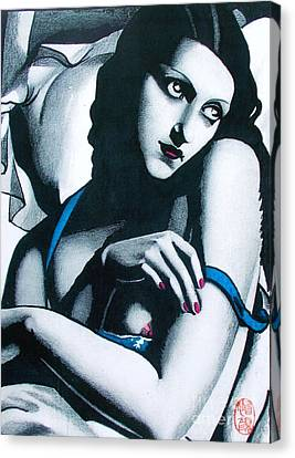Tribute To Tamara Lempicka 2 Canvas Print by Roberto Prusso