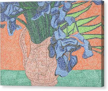 Tribute To Van Gogh's Irises Canvas Print by William Burns