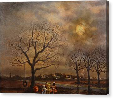 Haunted Canvas Print - Trick-or-treat by Tom Shropshire