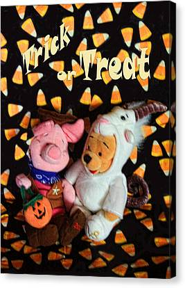 Trick Or Treat With Pooh Canvas Print