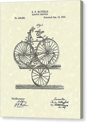 Tricycle Canvas Print - Tricycle 1890 Patent Art by Prior Art Design