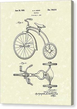 Tricycle Canvas Print - Tricycle 1936 Patent Art by Prior Art Design