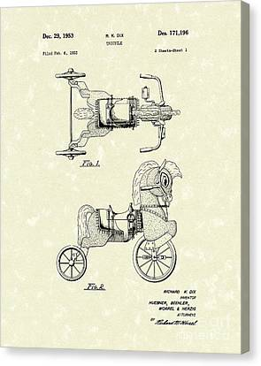 Tricycle Canvas Print - Tricycle 1953 Patent Art by Prior Art Design