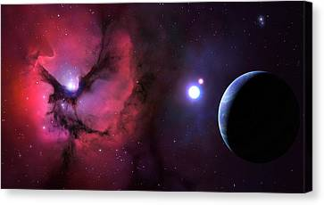 Trifid Nebula Seen From Nearby Planet Canvas Print