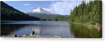 Trillium Lake And Mt Hood Panorama Oregon. Canvas Print by Gino Rigucci