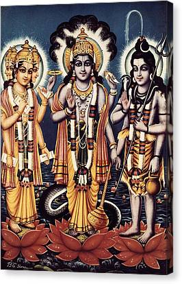 Trimurti Three Forms In Sanskrit Canvas Print