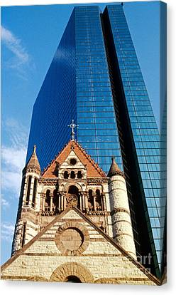 Trinity Church And Hancock Tower Canvas Print by Spencer Grant