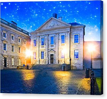 Trinity College Dining Hall At Night Canvas Print by Mark E Tisdale