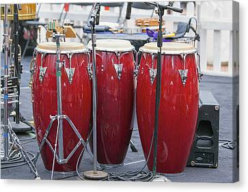Trio Of Red Conga Drums Canvas Print by JPLDesigns