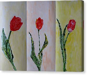 Trio Of  Red Tulips Canvas Print by Sonali Gangane