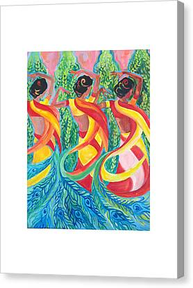 Canvas Print featuring the painting Trio by Suzanne Silvir