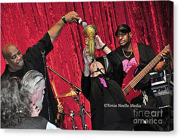 Trio Throwdown With Andy Stokes And Patrick Lamb And Randy Monroe Canvas Print by Tonia Noelle