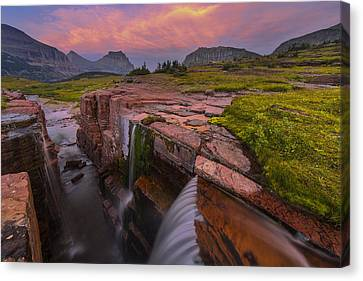 Triple Falls Sunset Canvas Print
